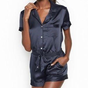 Victoria's Secret Sz S Satin Pajama Romper in Navy